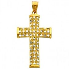14K Gold Two Tone Cross Crucifix Charm Pendant Religious Flower Diamond Cut