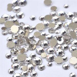 Mixed Size Flat Back Clear Crystals Nail Art Ss6,ss8,ss10,ss12,ss16,ss20 5ml Pot
