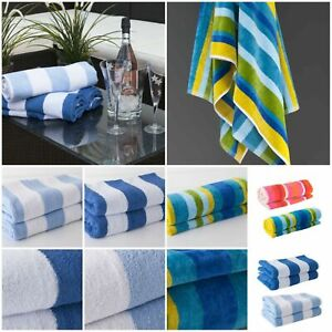 Luxury Soft Beach Towel Pool Towel 100% Cotton Velour Striped Chlorine Resistant