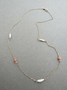 Vintage Art Deco Yellow Gold Filled Link Necklace Salmon Coral Pearl 1/20 12K