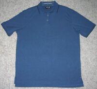 Kirkland Polo Shirt Large Blue Black Rayon Polyester Solid Mens Man Short Sleeve