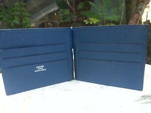 HERMES POKER JUNGLE EPSOM LEATHER MONEY CLIP CARD HOLDER WALLET  BLEU DE MALTE