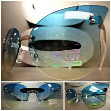 VINTAGE RETRO SHIELD FLAT RIMLESS CAT EYE Style SUN GLASSES Aqua & Yellow Lens