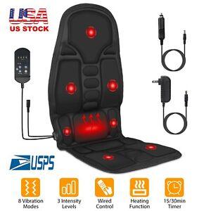 8 Mode Massage Seat Cushion Electric Shiatsu Heated Back Neck Massager Chair Pad