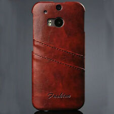 Luxury Card Slot Genuine Leather Back Case Cover For 2014 HTC ONE M8 Salable