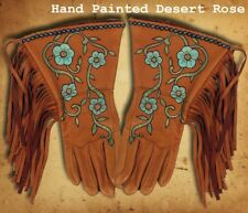 Handmade Hand Painted Supple Deer Skin Gauntlet Gloves 4 Styles to Choose From