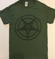 PENTAGRAM T SHIRT Military Green satanic clothing gothic satan GREAT EVIL GIFT