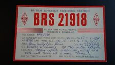 QSL Hayes England Radio Transmission Confirmation 1958 BRS 21918