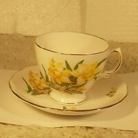 Vintage Royal Vale Yellow Flower Floral Bone China Tea Cup & Saucer England Made