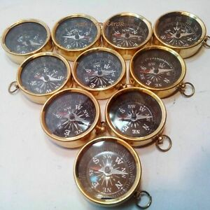 SET OF 10 PIECES MARITIME NAUTICAL VINTAGE STYLE BRASS POCKET COMPASS KEY CHAINS