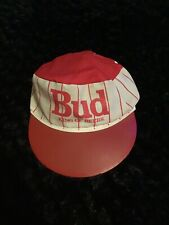 Vintage Bud King Of Beers Painter Hat Budweiser Pinstripes Vtg Usa Rare Red