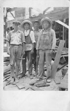 Real Photo Postcard Four Construction Workers at Building Site Tennessee~115792