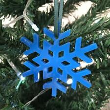 bleu vif Cristal flocon de neige Noël Arbre Décorations & VERT RUBAN x 10
