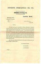 Documento Conferimento Medaglia d'Onore Esposizione del 1862 Regno d'Italia 1862