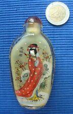 Tabatiere Chine décor intérieur verre  snuff bottle 4