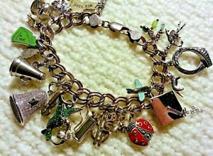 """Vintage Italian Sterling Silver Charm Bracelet & 21 Charms, 63.3gr, 8"""" Movers"""