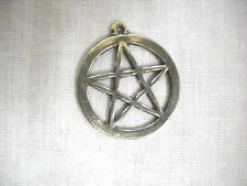 NATURE MAGIC WICCAN 5 POINT PENTACLE STAR w RING PEWTER PENDANT ADJ NECKLACE