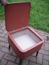 Small Vintage Retro 1960s Vinyl & Carpet Top Stool Sewing Box Storage Box TRENDY