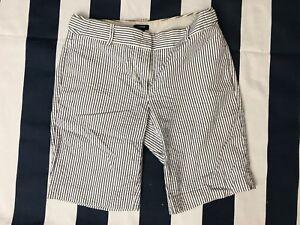 Women J. Crew Seersucker Blue/White Striped Bermuda Shorts size 2 CityFit 91939