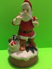 Vintage 1982 Mann Santa Claus Wind Up Music Box Gift Collectible