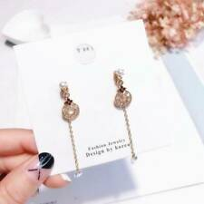 S925 Silver Korea Round Crystal Disc Pearl Earrings Dangle Earring Jewelry