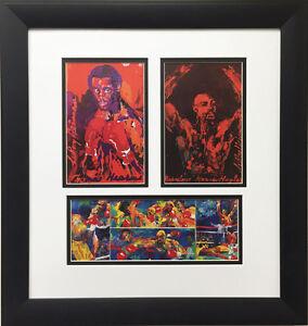 """LeRoy Neiman """"Marvelous Marvin Hagler vs Thomas Hearns Collage"""" FRAMED Art Print"""