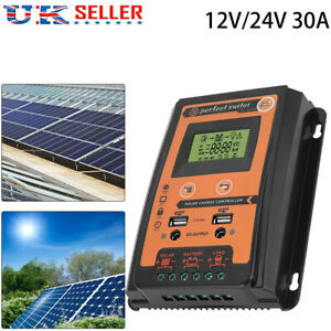 12/24V 30A MPPT Solar Charge Controller Panel Battery Regulator LCD Display
