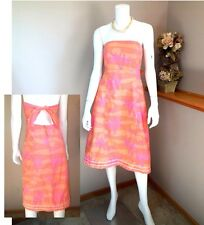 Lilly Pulitzer orange pink strapless bandeau tropical romantic couple dress 8 M