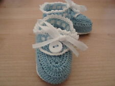 Handmade Crochet Baby Booties with Ribbon Lace and Button