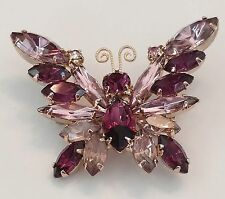 "Vintage Butterfly Rhinestone Brooch Pin - 1 7/8"" - Unsigned - Purple- Light Pink"