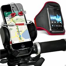 Quality Bike Bicycle Holder+Sports Armband Case Cover+In Ear Headphones✔Red