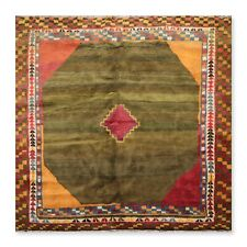 7' x 7' Hand Knotted Persiian Gabe Square Boho Chick Thick Pile Area Rug Green