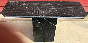 BLACK MARBLE TABLE CONSOLE with Base FREE SHIP