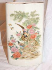 Vintage Japanese Vase Pottery Asian Oriental Birds Flowers Zen Garden Decor