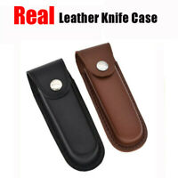"5"" Real Leather Sheath Pocket Case Folding Knife Multi Tool Kit Pouch Holster"