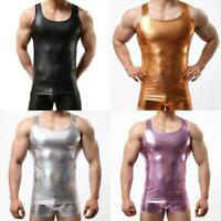 Shiny Mens Spandex Stretch Vest Tank Tops Sleeveless T-shirt Metallic Tee Muscle