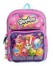 "2016 Shopkins Girl's 16"" Canvas Pink School Large Backpack Book Backpack Bag"