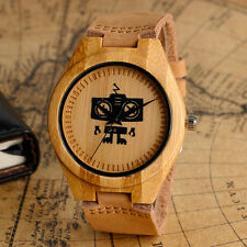 Nature Wood Bamboo Quartz Wrist Watch Women Men Wooden  Robot Dial Leather Band