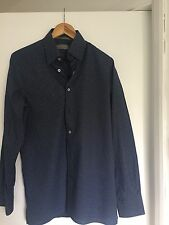 Canali Men's Sport Shirt Slim Fit, Dark Blue And White, Dotted