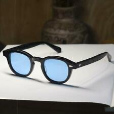 Retro SOILD Acetate Johnny Depp sunglasses vintage black blue lens sunglasses