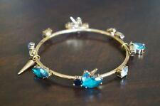 NEW Erickson Beamon Rocks Blue Blondie Crystal Clustr Gold Spike Bangle Bracelet