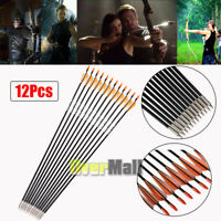 """12PCS 31"""" Archery Carbon Arrows Spine Compound Bow Target Practice Hunting"""