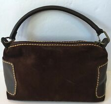 Plinio Visona Brown Suede Handbag