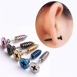 Pair of Trendy Mens Womens Chic Punk Stainless Steel Screw Ear Studs Earrings