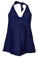 NWT Womens Maternity Small XS 0/2 Long Tankini Bikini Swimsuit Navy Halter