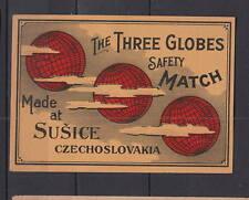 Ancienne étiquette de paquet allumettes Tchécoslovaquie  AD52   Trois Globes