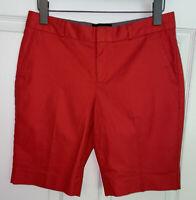Banana Republic Sz 2 Flat Front Red Bermuda Chino Cotton Stretch Shorts EUC