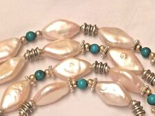 """Baroque Pearl and Turquoise Strand Necklace, 36"""" long, Sterling Silver 925"""