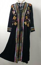 Velvet Black Long Cardigan Lagenlook Hippie Pixie Lolita Boho Chic 10 12 14 16
