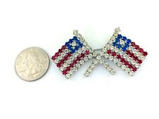 Dual Flags Bling Rhinestone, 6mm x 3mm Usa American Flag Pin Brooch Style 12,